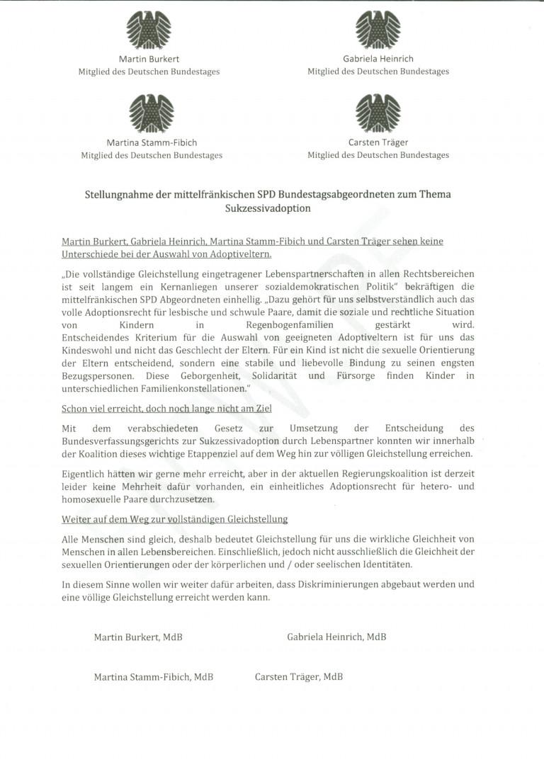 Erklärung der mittelfränkischen SPD-Bundestagsabgeordneten zum Adoptionsrecht